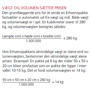 Pakkeberegning Post Danmark