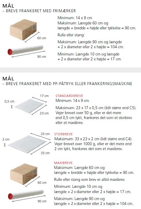 Post Danmark størrelser på postforsendelser